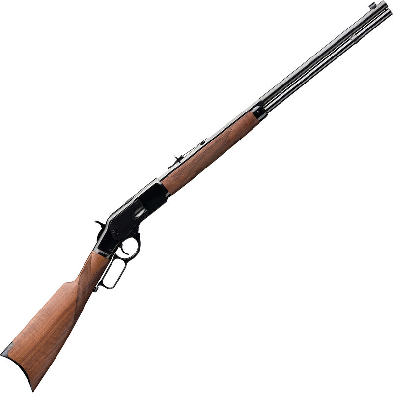 """Winchester 1873 Deluxe Sporter .375 Mag Lever Action Rifle 24"""" Half Octagon Barrel 13 Rounds Walnut Stock Blued"""