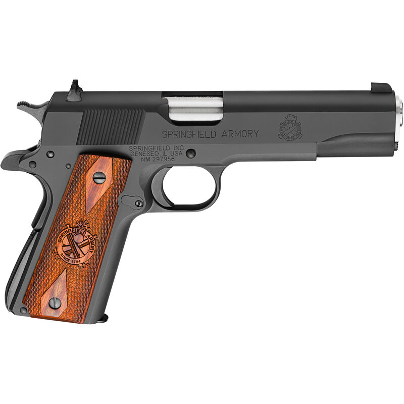 """Springfield Armory 1911 Mil-Spec Full Size Government Semi Auto Pistol .45 ACP 5"""" Barrel 7 Rounds Wood Grips Blued Finish"""
