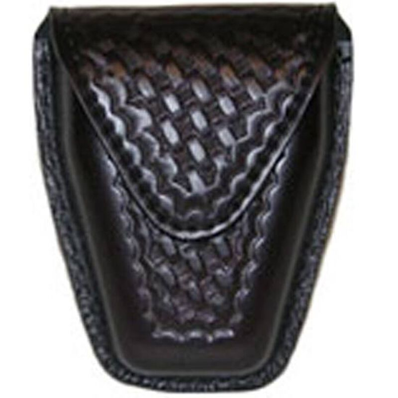 Safariland Model 190 Handcuff Pouch Chain Cuffs Top Flap Hidden Snap SafariLaminate Basket Black 190-4HS
