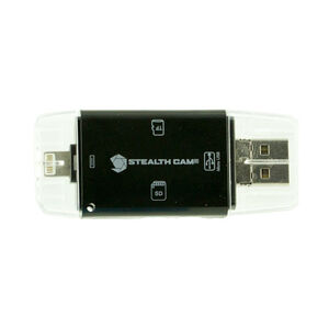 Stealth Cam Triple Connection Memory Card Reader for IOS and Android Matte Black