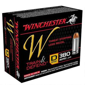 Winchester W Train and Defend .380 ACP Ammunition 95 Grain JHP 950 fps