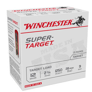 "Winchester Super-Target 12 Gauge Ammunition 250 Round Case 2-3/4"" #9 Lead 1oz 1250 fps"