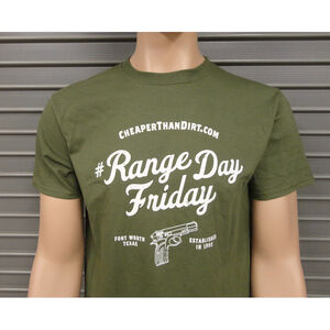 Cheaper Than Dirt Range Day Friday OD Green T-Shirt Size Large