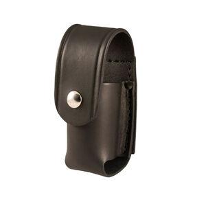 """Boston Leather Chemical Pepper Spray Holder 2 oz. MkIII MkIV 2.25"""" Belt Brass Snaps Leather Plain Black 5527-1-N"""