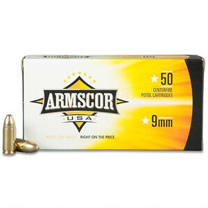 Armscor USA 9mm Luger  Ammunition 50 Rounds FMJ 147 Grain