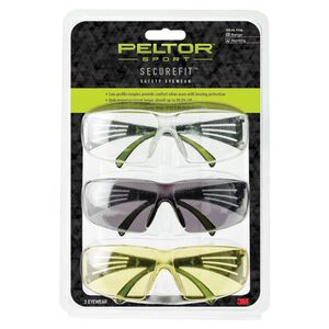 Peltor Sport SecureFit Eye Protection Gray, Amber, and Clear