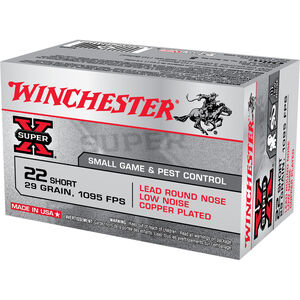 Winchester Super X .22 Short Ammunition 50 Rounds, LRN, 29 Grains