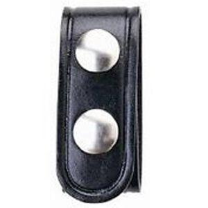 "Boston Leather Belt Keeper .75"" Leather Plain Black Nickel Snaps 5456-1-N"