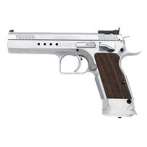 """EAA Witness Elite Limited Semi Automatic Handgun .40 S&W 4.75"""" Barrel 15 Rounds Checkered Wood Grips Brushed Chrome Finish"""