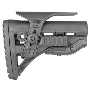 FAB Defense AR-15 Shock Absorbing Buttstock with Picatinny Rails and Cheek Rest Mil-Spec and Commercial Tubes Polymer Black