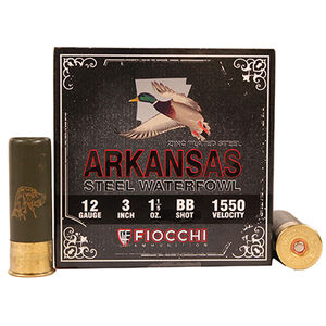 "Fiocchi 12 Gauge Ammunition 25 Rounds 3.00"" #BB Steel Shot 1.20 oz."