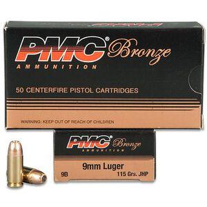 PMC Bronze 9mm Luger Ammunition 50 Rounds 115 Grain JHP 1160 fps