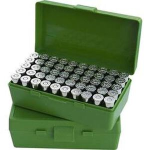MTM Case-Gard P-50 Original Series Flip Top Handgun Ammo Box 9mm Luger/9mm Makarov/.380 ACP/.30 Luger Holds 50 Rounds Green P50-9M-10