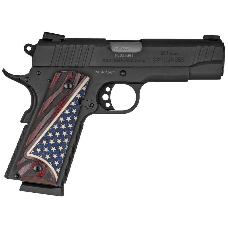 "Taurus Commander 1911 .45 ACP Semi Auto Pistol 4.25"" Barrel 8 Rounds Novak Sights Altamont Rosewood Bonded Ivory US Flag Grips Matte Black Finish"