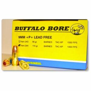 Buffalo Bore 9mm Luger +P+ Ammunition 20 Rounds Barnes TAC-XP 115 Grains 24H/20