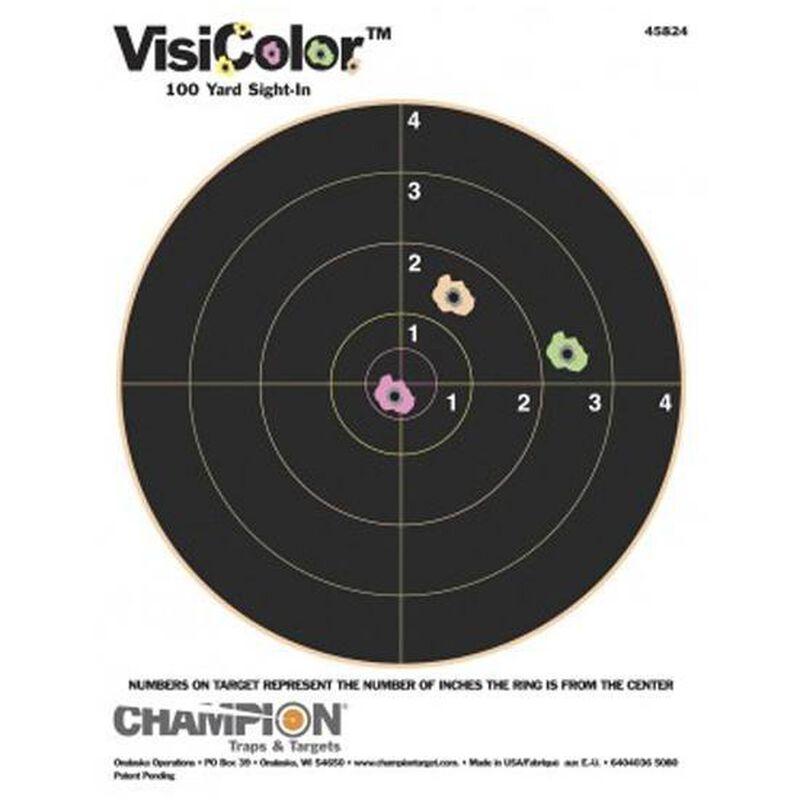 "Champion VisiColor 8"" Bullseye Target 8.5""x11"" Paper Ten Pack 45824"