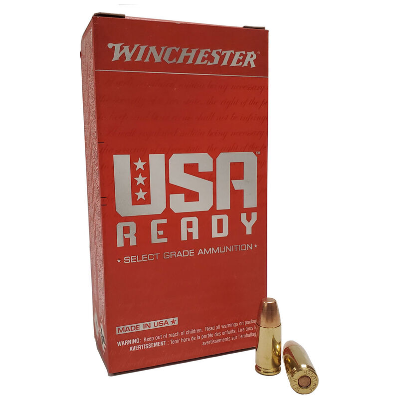 Winchester USA Ready 9mm Ammunition 50 Rounds FMJFN 115 Grains 1190 fps