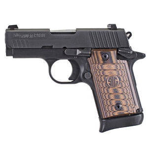 """SIG Sauer P938 Select Semi Auto Pistol 9mm Luger 3"""" Barrel 7 Rounds SIGLite Sights SAO System Ambi Safety Custom G10 Grips Alloy Frame/Stainless Steel Slide Matte Black Finish"""