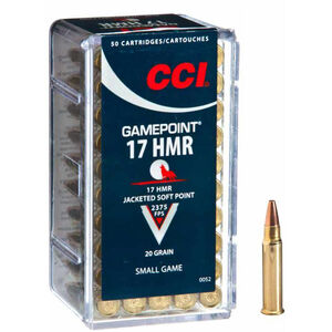 CCI Gamepoint .17 HMR Ammunition JSP 20 Grains 2,375 fps