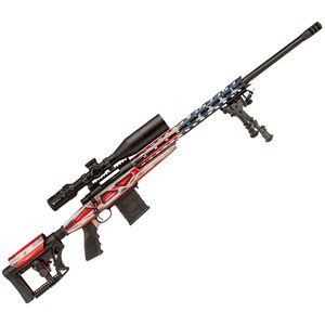 "Howa American Flag Chassis Bolt Action Rifle .223 Rem 24"" Heavy Barrel 10 Rounds APC Aluminum Chassis M-LOK Forend Luth-AR MBA-4 Stock Battleworn US Flag/Black Finish"