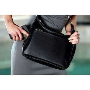 DeSantis Women's Gunnybag Fashion Handbag/Purse with Gun Pocket Sized For Small Semi Auto Pistols Shrunken Grain Leather Black