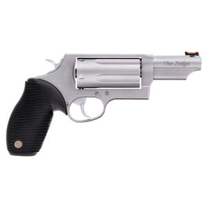 """Taurus Judge Magnum Double Action Revolver .45 Long Colt/.410 Bore 3"""" Chamber 3"""" Barrel 5 Round Fixed Red Fiber Optic Front Sight/Fixed Rear Sight Ribbed Rubber Grip Matte Stainless Steel Finish"""
