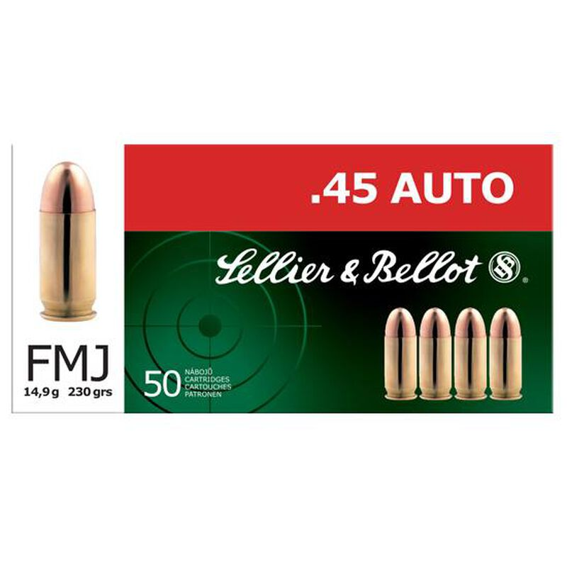 Sellier & Bellot .45 ACP Ammunition 230 Grain FMJ 853 fps