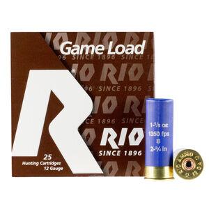 """Rio Super Game Load HV 12 Gauge Ammunition 250 Rounds 2-3/4"""" #8 1-1/8oz Lead Shot 1350fps"""