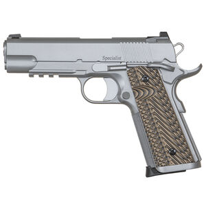"Dan Wesson 1911 Specialist Commander Semi Auto Pistol .45 ACP 4.25"" Barrel 8 Rounds Fixed Night Sights G-10 Grips Stainless Steel Bead Blasted Finish"