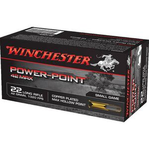 Winchester Power Point .22LR Ammunition 42 Grain Copper Plated Max HP 1320 fps