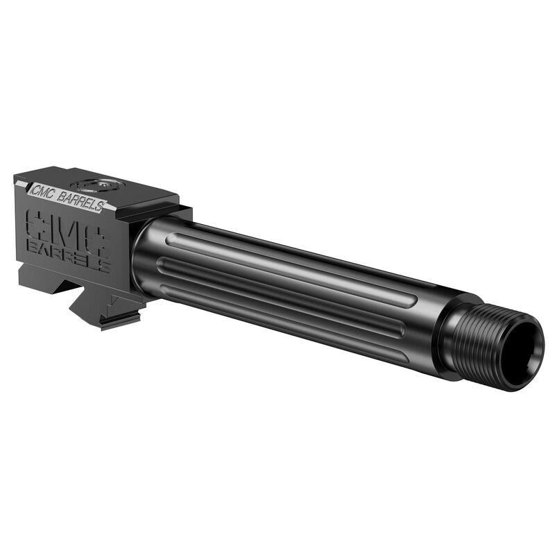 CMC Triggers GLOCK 19 Gen 3-4 9mm Luger Match Grade Drop In Replacement Barrel Fluted/Threaded 416R Stainless Steel DLC Matte Black Finish