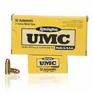 Remington UMC .32 ACP 71 Grain FMJ 50 Round Box