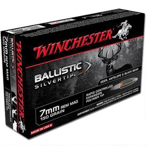 Winchester 7mm Remington Magnum Ammunition 200 Rounds Silvertip BST 150 Grains