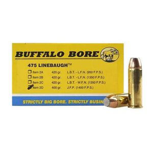 Buffalo Bore .475 Linebaugh Ammunition 20 Rounds JFN 400 Grain 2D/20