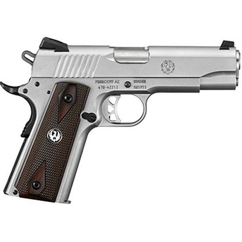 "Ruger SR1911 Commander Semi Auto Handgun .45 ACP 4.25"" Stainless Steel Barrel 7 Rounds Hardwood Grips Low Glare Stainless Steel Finish 6702"
