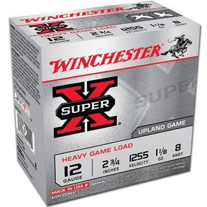 """Winchester Super X Heavy Game 12 Gauge Ammunition 25 Rounds 2.75"""" #8 Lead 1.125 Ounce XU12H8"""
