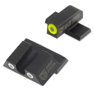 Night Fision Perfect Dot Tritium Night Sight Set Springfield Armory XD-S/XD-E Green Tritium Front/Rear Yellow Front Ring U-Notch Rear with White Ring Metal Body Black Nitride Finish