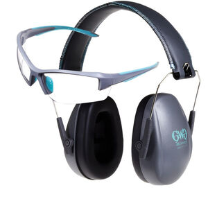 Girls With Guns Assure Protective Safety Glasses & Earmuffs Combo Set Gray/Teal/Black