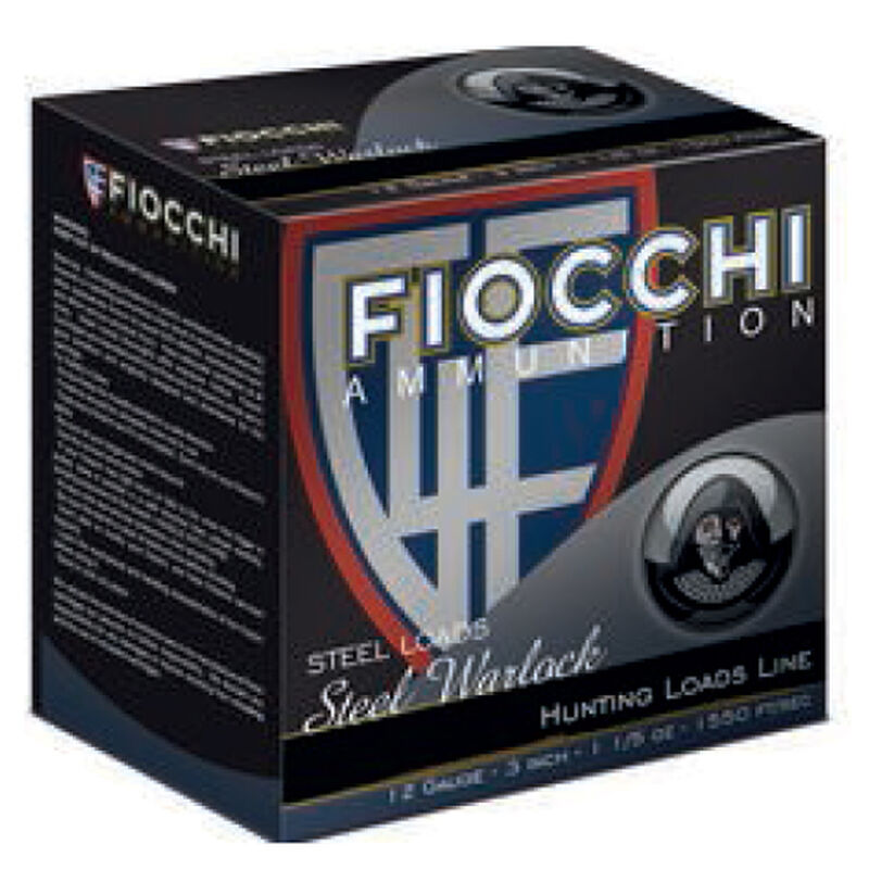 "Fiocchi Waterfowl Steel Hunting Speed Steel Warlock 12 Gauge Ammunition 250 Rounds 3"" #4 Shot 1-1/5oz Steel 1550fps"
