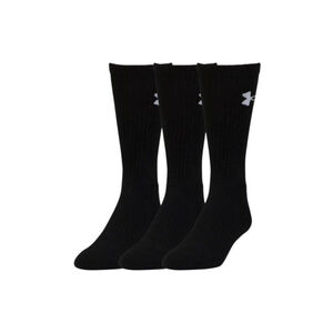 Under Armour Elevated Performance Crew Men's Socks 9-11 HeatGear and Armour Dry Black 3 Pack