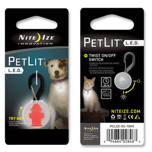 Nite Ize PetLit LED Collar Light, Red Hydrant, PCL02-03-10HY
