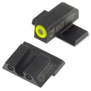 Night Fision Perfect Dot Tritium Night Sight Set Springfield Armory XD/XD(M)/XD Mod 2 Green Tritium Front/Rear Yellow Front Ring U-Notch Rear with No Ring Metal Body Black Nitride Finish