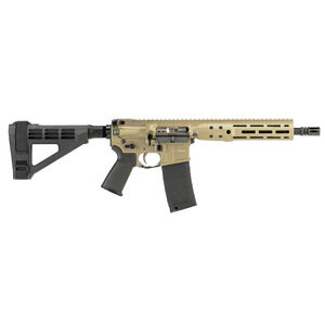 "LWRC IC DI AR-15 5.56 NATO Semi Auto Pistol 10.5"" Barrel 30 Rounds M-LOK Free Float Rail System SB Tactical SB4M Pistol Brace Flat Dark Earth Finish"