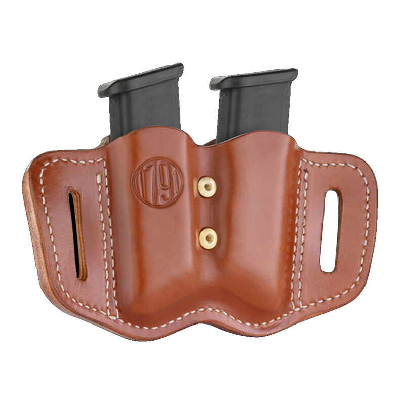 1791 Gunleather Double Stacked Polymer Magazine Double Magazine Pouch 2.2 OWB Ambidextrous Leather Classic Brown