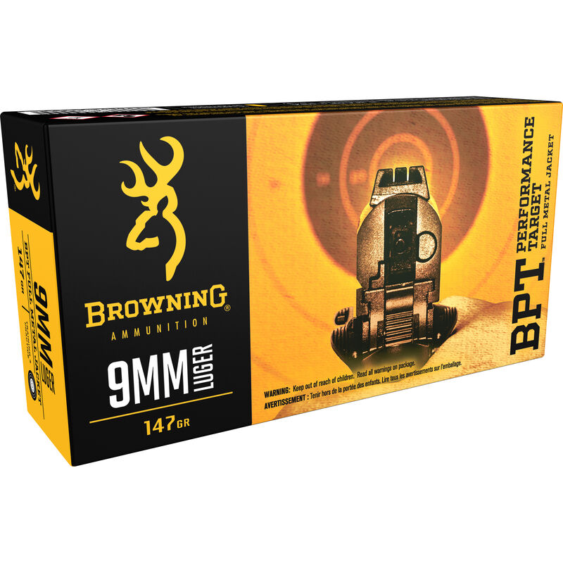 Browning BPT 9mm Luger FMJ 147 Grain 1000 fps 50 Rounds
