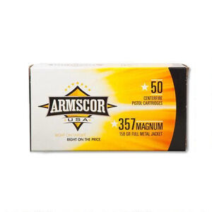 Armscor USA .357 Magnum Ammunition 1000 Rounds FMJ 158 Grains F AC 357-6N