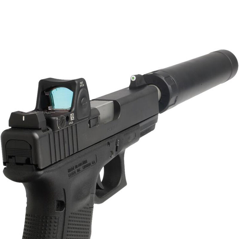 XS Sight Systems DXW Big Dot Suppressor Height Night Sights GLOCK 20/21/29/30/30S/36/37/41 Green Tritium Front/Solid White Rear Matte Black