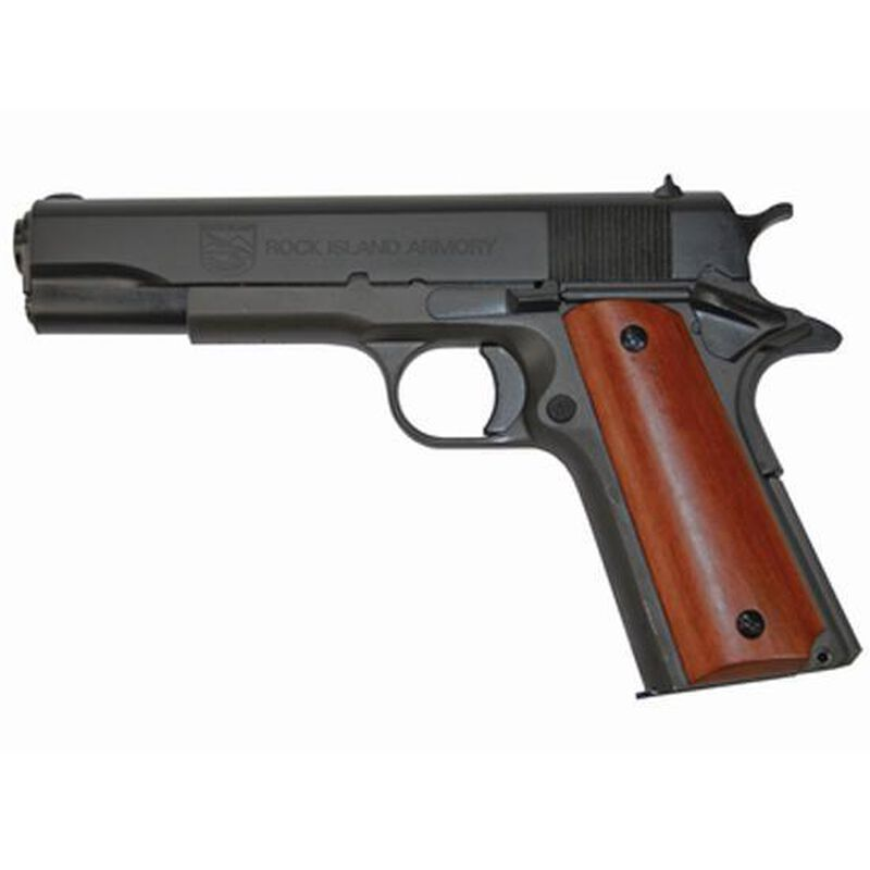 "Rock Island Armory G1 Series Standard Full Size 1911 Semi Auto Pistol .38 Super 5"" Barrel 9 Rounds Fixed Sights Smooth Wood Grips Parkerized Finish"