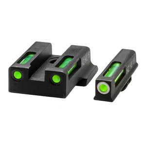 HiViz Litewave H3 Tritium/Litepipe fits S&W M&P Shield 380EZ Models Green Front Sight with White Front Ring/Green Rear Sight Steel Housing Matte Black