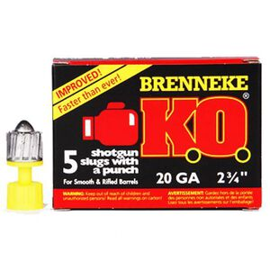 "Brenneke 20 Gauge K.O. 2-3/4"" Rifled Slug 3/4 Oz 5 Rounds"